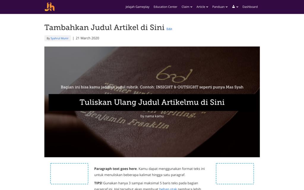 Tampilan artikel dengan pengaturan Default Template