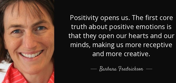 Positivity doesn't just change the contents of your mind...It widens the span of possibilities that you see.