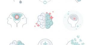 Brain and mental health icons vector set